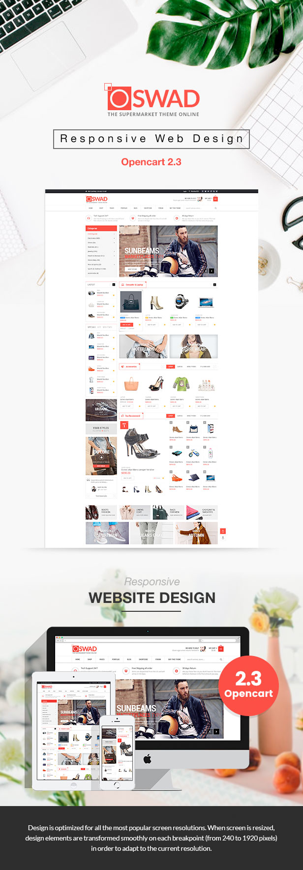 Oswad - Responsive Supermarket Online Opencart 2.3 Theme