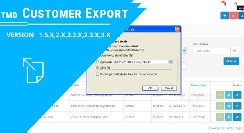 TMD Customer export Module