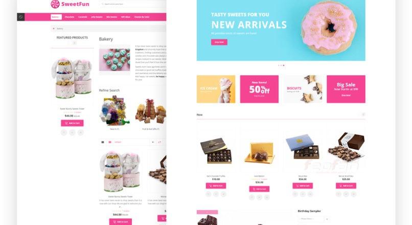 OpenCart шаблон «SweetFun — Minimalistic Sweets Online Store»