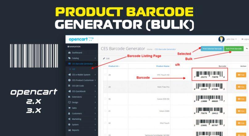 Product barcode generator (bulk) / Генератор штрих-кодов Opencart