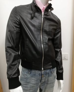 Giubbotto Patermo Uomo in Pelle nappa, colore Nero, alta qualità artigianale