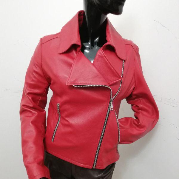 detailing 8d830 7bdb0 Giubbotto Patermo Donna in Pelle nappa, colore Rosso, modello Chiodo, alta  qualità artigianale
