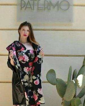 Spolverino Patermo Donna in Pelle nappa e pura Seta, colore Nero e fantasia floreale, Reversibile, cappotto qualità artigianale giacca