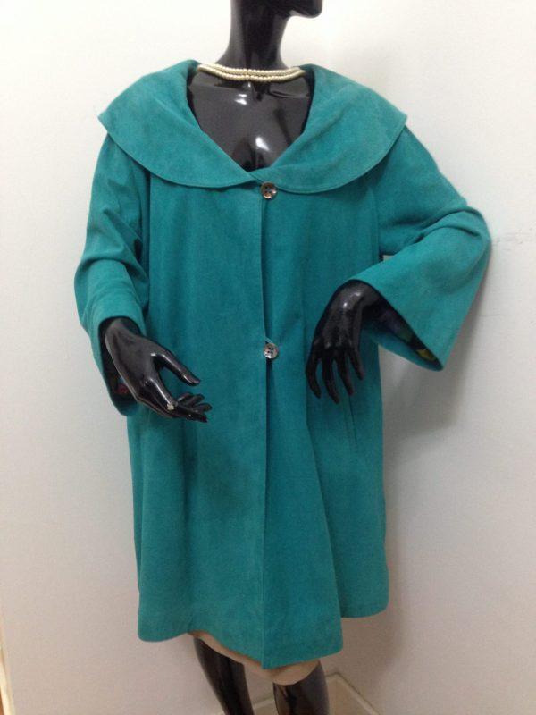 spolverino patermo in pelle scamosciata colore verde acquamarina cappotto alta qualità artigianale