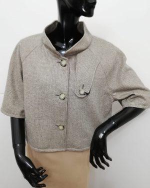 mantellina patermo donna in lana colore grigio e beige