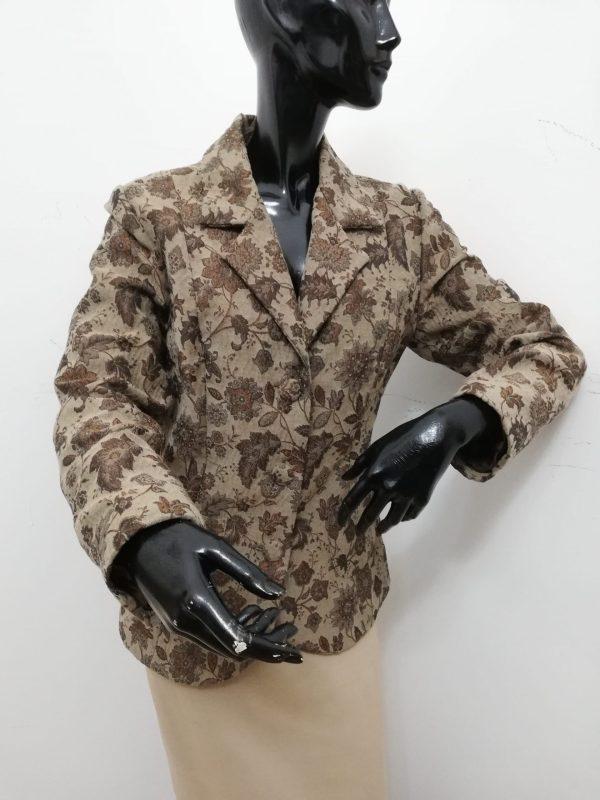 giacca patermo donna in broccato di lana colore marrone a trama floreale