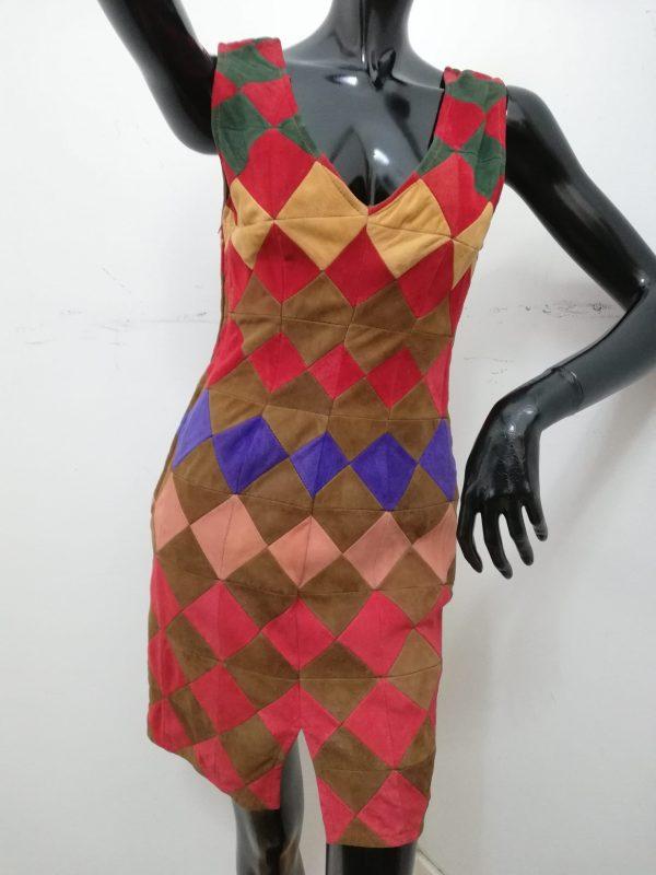 vestitino patermo in patchworc di pelle scamosciata vari colori tubino qualità artigianale