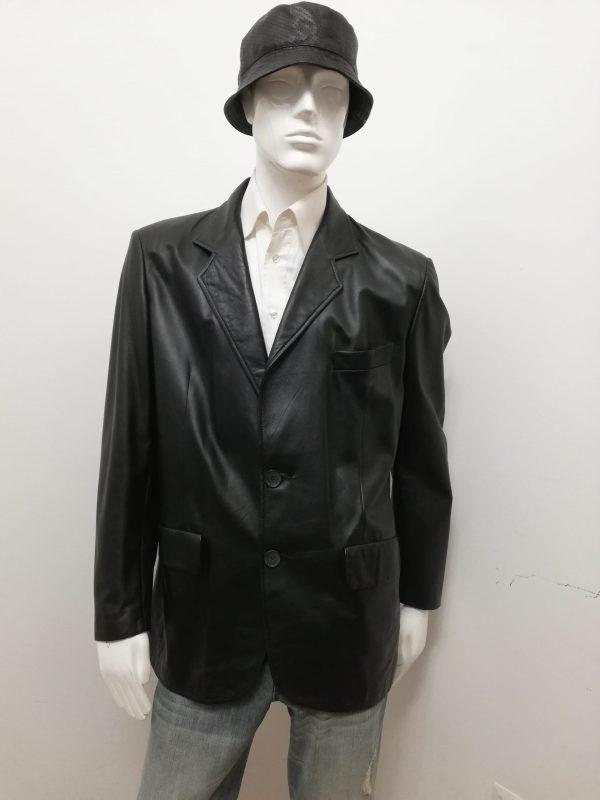 Giacca Patermo Uomo in Pelle nappa, colore Nero, altissima qualità artigianale