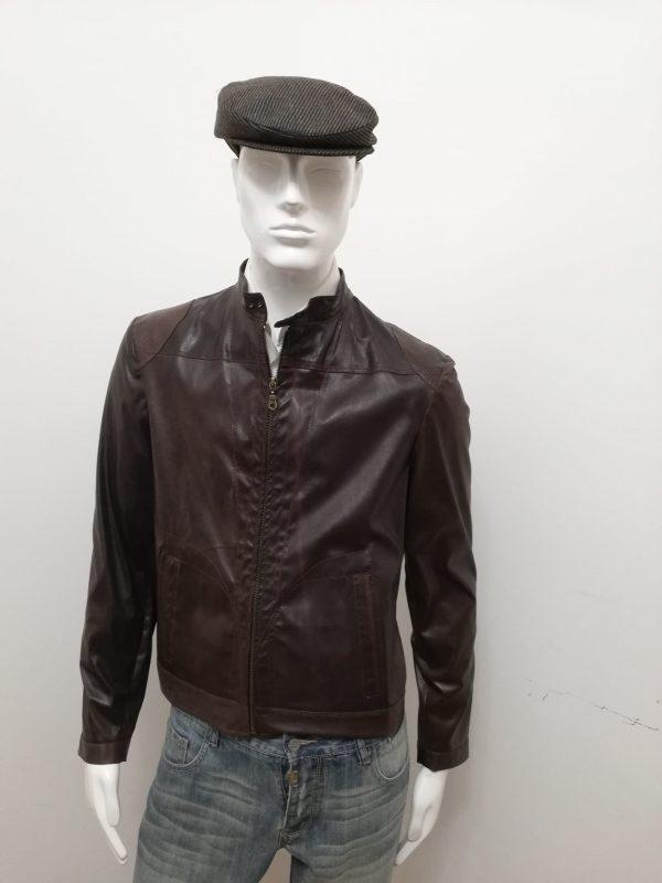 Giubbotto Patermo Uomo in Pelle nappa elasticizzata, colore Marrone, giacca alta qualità artiganale