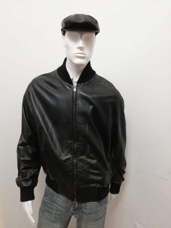 Giubbotto Uomo Patermo in Pelle nappa, colore Nero, giacca modello College qualità artigianale