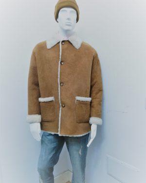 Giaccone Patermo Uomo in Montone rovesciato, colore Miele ed interno bianco, cappotto alta qualità artigianale