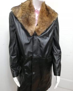 Giaccone 3/4 Patermo Uomo in Pelle nappa, colore Nero, collo in pelliccia di Agnello staccabile, cappotto alta qualità artigianale