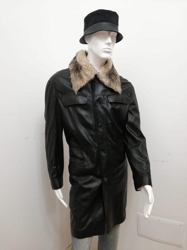 Giaccone 3/4 Patermo Uomo in Pelle nappa, colore Nero, collo in pelliccia di Agnello staccabile, trench cappotto qualità artigianale