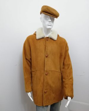 Giaccone Patermo Uomo in Montone rovesciato, colore wisky ed interno bianco, cappotto Montgomery altissima qualità artigianale
