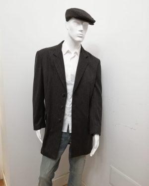 Soprabito Patermo Uomo in pura lana, colore Marrone rigato, cappotto alta qualità artigianale cappottino