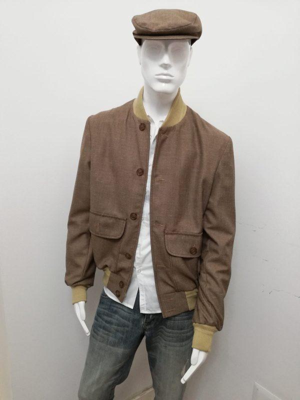 Giubbotto Patermo Uomo in pura Lana, colore Nocciola e collo beige, giacca modello Blouson alta qualità artigianale