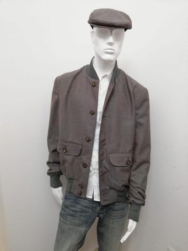 Giubbotto Patermo Uomo in pura Lana, colore Marrone e Grigio, giacca modello Blouson alta qualità artigianale