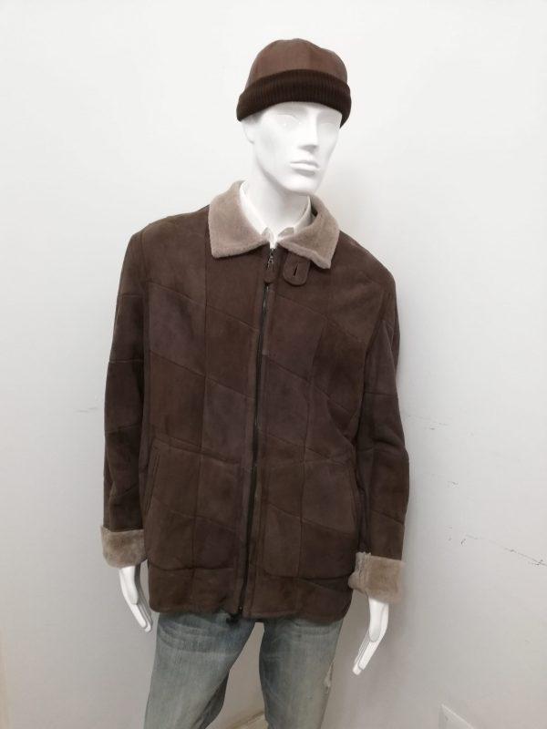 Giubbotto Patermo Uomo, in patchwork di Montone rovesciato, colore Marrone, giaccone altissima qualità artigianale