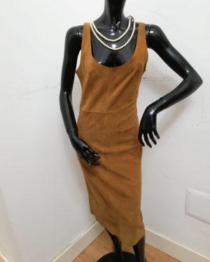 Abito lungo Patermo Donna in Pelle scamosciata, colore Cammello, vestito tubino alta qualità artigianale