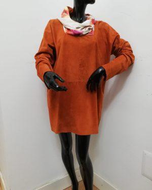 Blusa Patermo Donna in Pelle scamosciata e pura Seta, colore rugine, vestito qualità artigianale