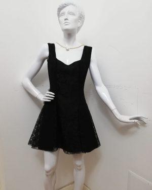 Vestitino Patermo Donna in Pizzo, colore Nero, modello Onda, interamente foderato, abito da sera qualità artigianale