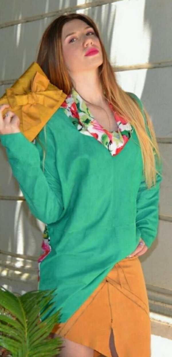 Blusa Patermo Donna in Pelle scamosciata e Viscosa a fiori, colore Verde, vestitino alta qualità artigianale