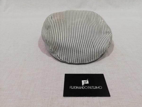 Coppola Patermo in puro Lino, colore Bianco a righe grigie, uomo donna, qualità artigianale