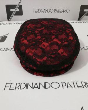 oppola Patermo Donna in Pizzo Nero con fodera rossa, altissima qualità artigianale