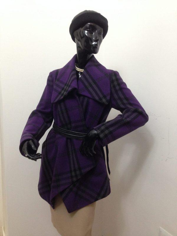 Cappottino Patermo Donna in pura Lana, colore Viola tartan, spolverino cappotto alta qualità artigianale