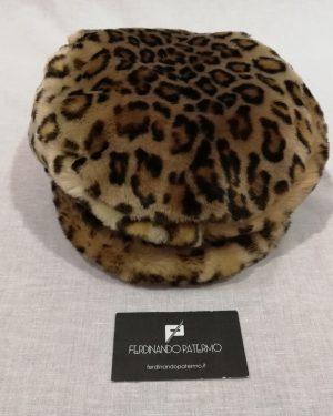 Coppola Patermo Donna in tessuto ecologico leopardato, qualità artigianale, cappello di pelliccia ecologica