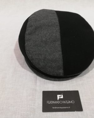 Coppola Patermo in pura Lana, bicolore grigio e nero, uomo donna, qualità artigianale