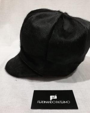 Cappello Patermo con visiera da Donna in pelle di Cavallino, colore Nero, alta qualità artigianale