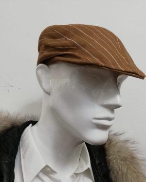 Coppola Patermo a becco d'anatra in puro Lino, colore Nocciola a righe bianche, uomo donna, qualità artigianale