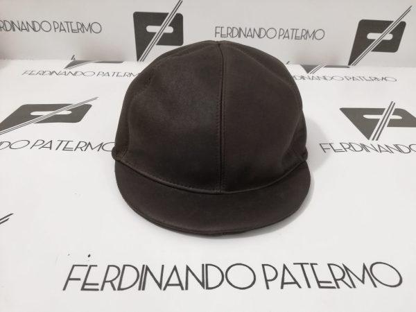 Cappello da Baseball Patermo in Montone rovesciato baby lamb, colore Marrone, uomo donna, berretto alta qualità artigianale