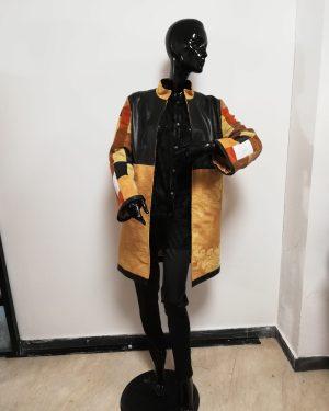 Cappotto Patermo Donna in Pelle e Cotone, colore nero e ocra, spolverino alta qualità artigianale
