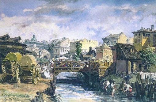 On Bucurestioara river, 1869, watercolor painting by A. Preziosi