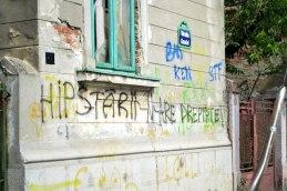 "Grafitti translates something like ""Hipsters ain't right"""