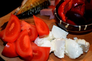 Fresh cheese and tomatoes