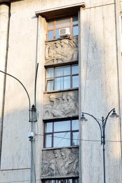 Detail on the UGIR building on Magheru Boulevard