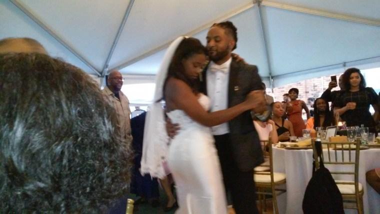 William and Britani enjoy the first dance on their wedding day.