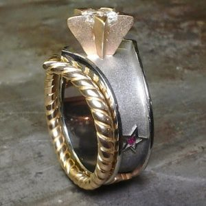 wonder woman custom designed ring side view pink stones