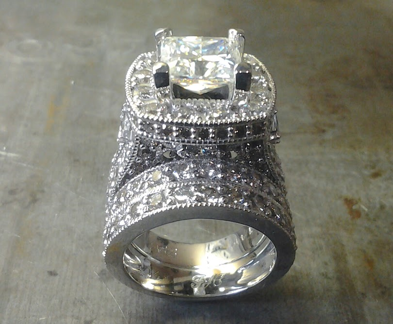 diamond encrusted engagement ring amd matching diamond wedding band