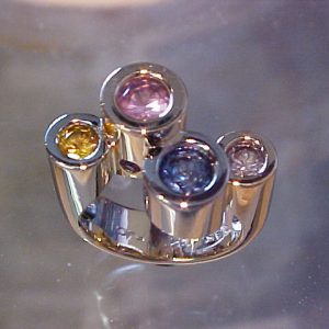 tall bezel sapphire colored family ring