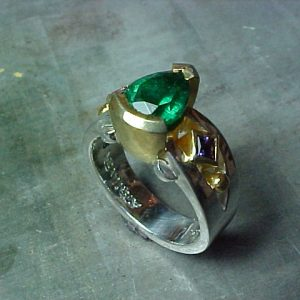 custom ring with emerald