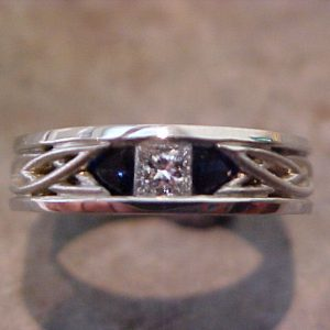 celtic diamond sapphire engagement ring