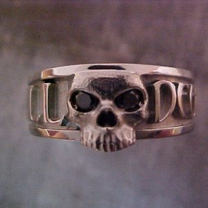 custom skull engraved wedding ring with black diamonds and monogram