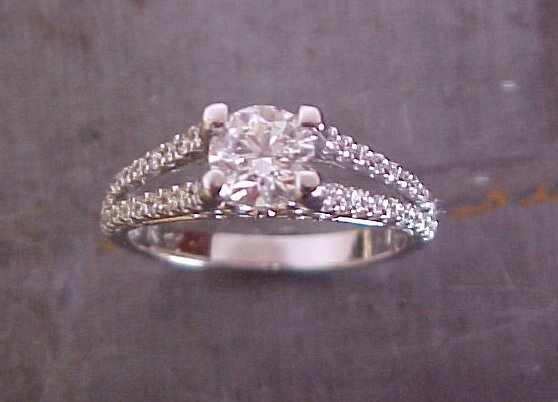 split diamond engagement band with princess cut center stone