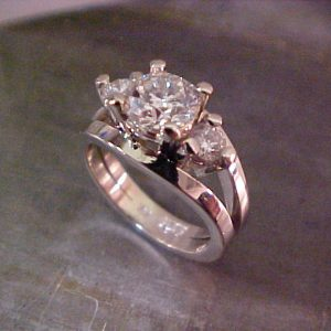 Large triple diamond setting white gold engagement ring