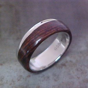 custom wood and 19k white gold wedding band