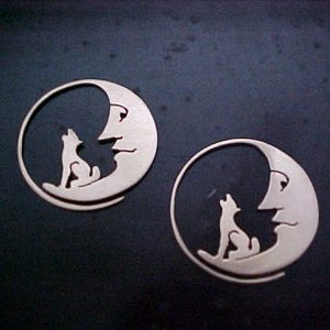 custom jewellery earrings wolf howling at the moon